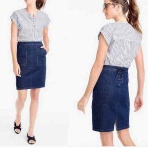 JCREW Dark Denim Skirt with Lace Back